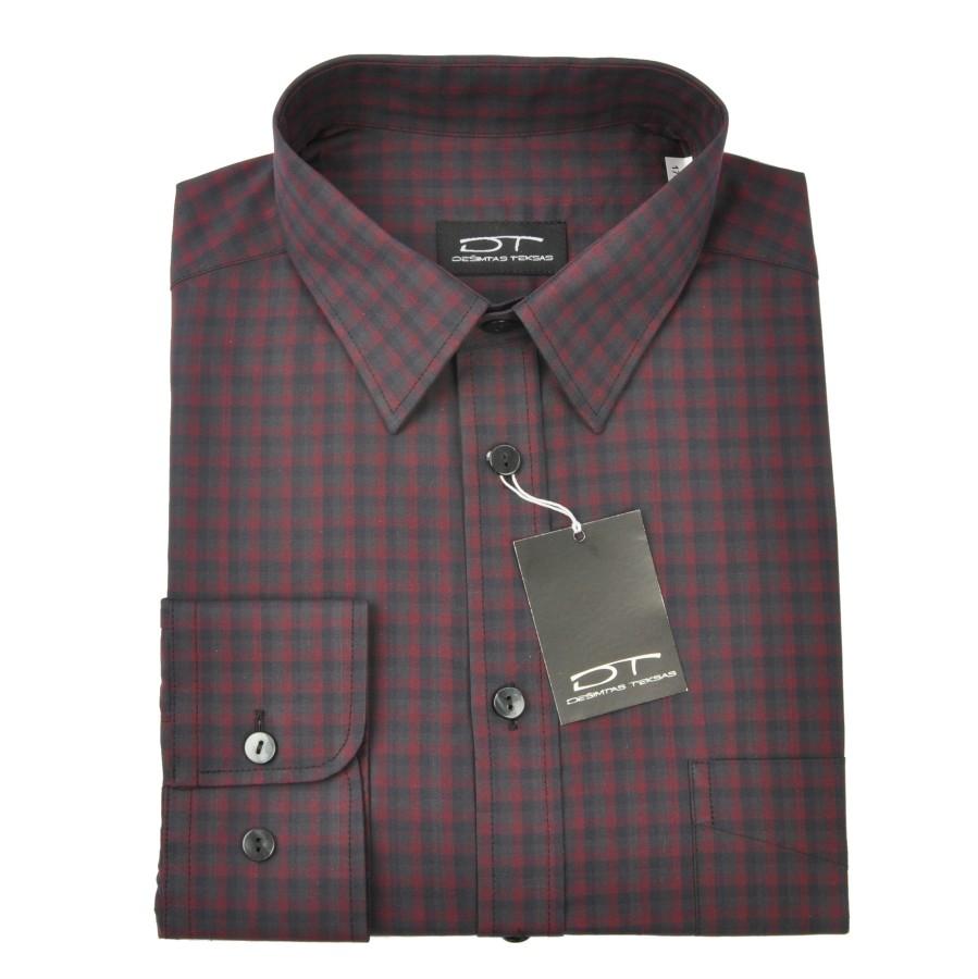 Medvilniniai marškiniai smulkiais langeliais NORVISCH, bordo/pilka//juoda spalvos