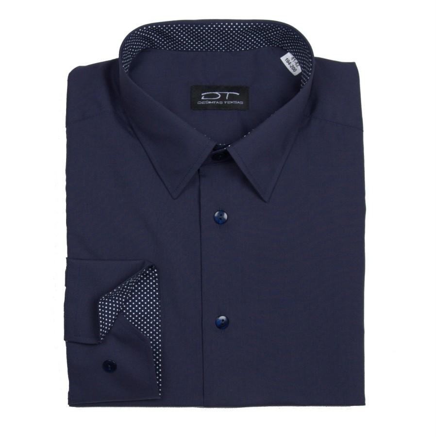 Tamsiai mėlyni vyriški marškiniai  su  žirniukų vidine apdaila
