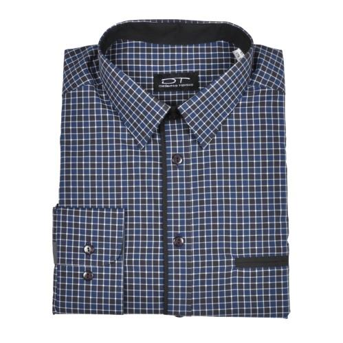 Medvilniniai marškiniai RAINBOW  mėlynos ir juodos spalvos langeliais