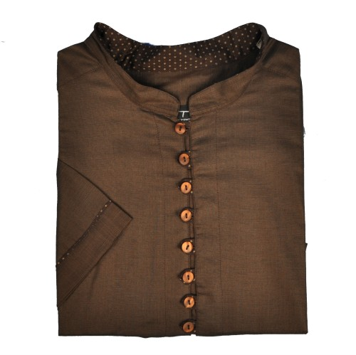 Rudi henley kirpimo medvilniniai marškiniai trumpomis rankovėmis ir stove