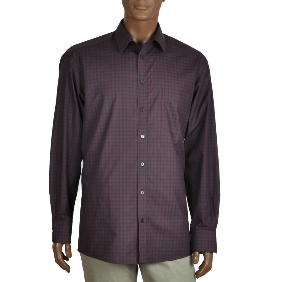 Checkered cotton dress shirt NORVISCH, bordeaux/black/gray