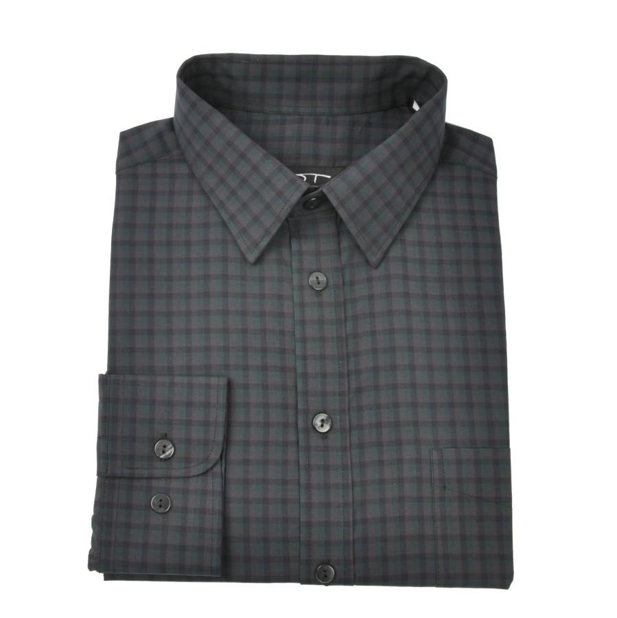 Checkered cotton dress shirt NORVISCH in green/black/gray