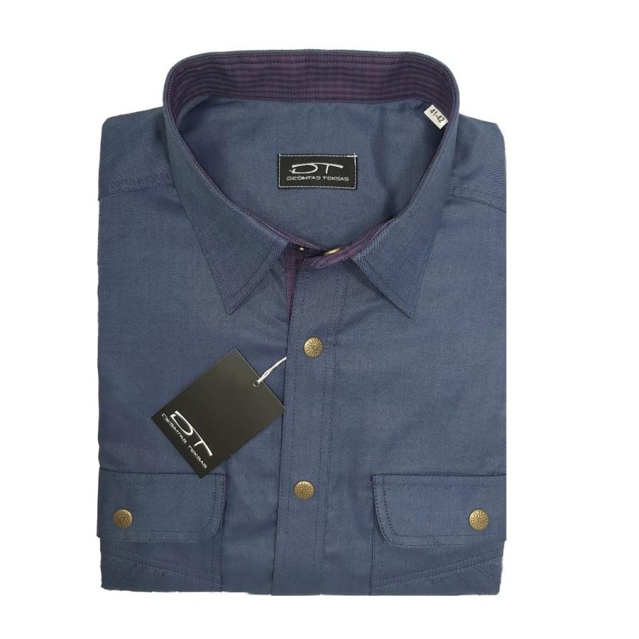 """Men""""s shirt Oliver (bluish) dark steel shade"""