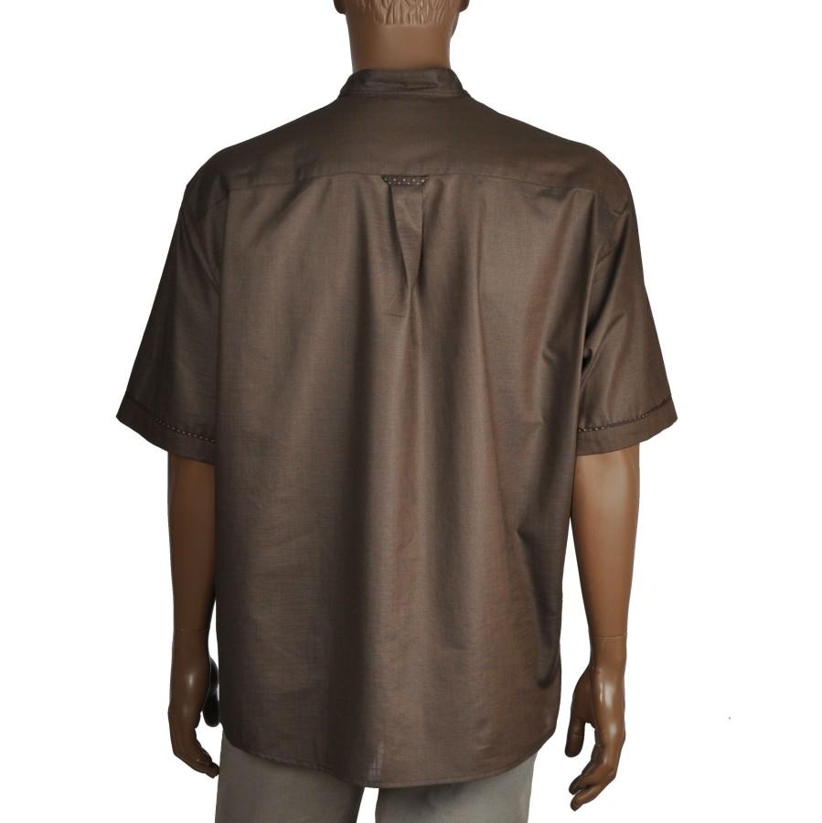Brown henley cut dress shirt with short sleeves and mandarin collar