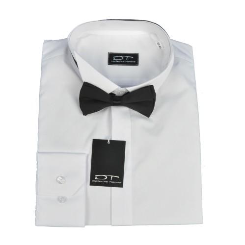 Balti klasikinio kirpimo vyriški marškiniai smokingo apykakle  su peteliške